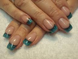 teal french tip simple nail art google search nail art