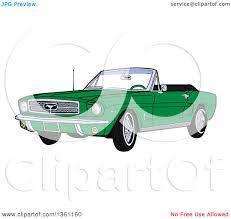 cartoon convertible car clipart of a cartoon green convertible 64 ford mustang muscle car