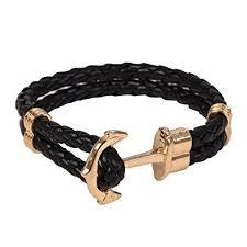 braided leather bracelet mens images Gold classic anchor braided leather bracelet black for men amazon jpg
