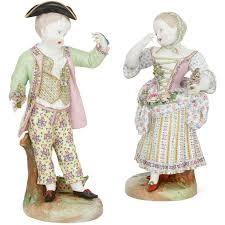 Meissen Vase Value Pair Of Large Antique Meissen Style Porcelain Figures Of A Couple