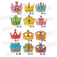 Kids Art And Craft Sets 12pcs Lot Diy Unfinished Birthday Crown Craft Kits Kindergarten