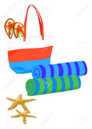 flip flop towel bag with towels and flip flops royalty free cliparts
