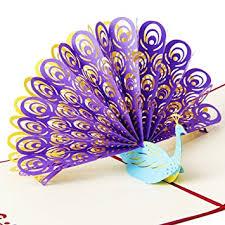 osunp peacock 3d pop up greeting card handmade birthday card