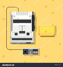 retro console video game joystick cartridge stock vector 732778090