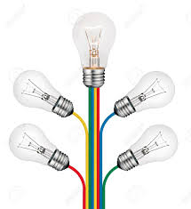 bright ideas concept lightbulbs attached to the tree of