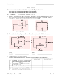 physics classroom answer key series circuits 28 images circuit