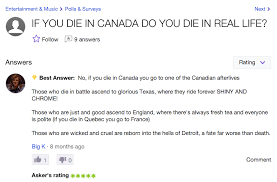 Yahoo Meme - if i die in canada yahoo answers know your meme