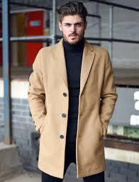bezout button up wool blend overcoat in camel tokyo laundry