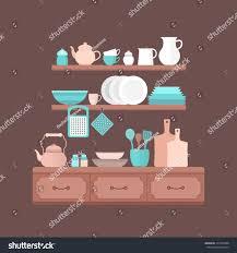 Kitchen Background Vector Set Kitchen Utensils Cooking Illustration Stock Vector