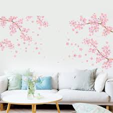 extra large pink flowers tree branch living room sofa tv