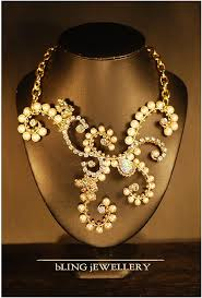 chunky pearl crystal necklace images Reduced chunky pearl and crystal wire wrapped bridal necklace jpg