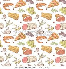 seamless pattern food italian food seamless pattern hand drawn traditional italy