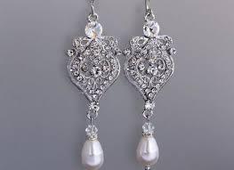 pearl and crystal drop wedding earrings vintage inspired bridal