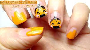 Halloween Nail Art Pumpkin - halloween nail art kawaii pumpkin youtube