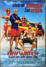 baywatch movie poster 2 sided original intl final 27x40 dwayne