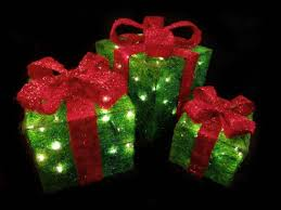 set of 3 sparkling green sisal gift boxes lighted