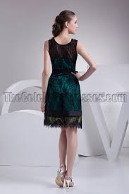 knee length black lace cocktail party graduation dresses