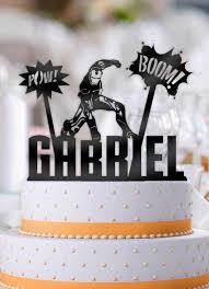 iron cake topper personalized iron boom pow with name 3 birthday cake