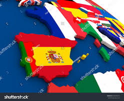 Map Of Countries Map Spain Portugal On Globe Embedded Stock Illustration 426648925