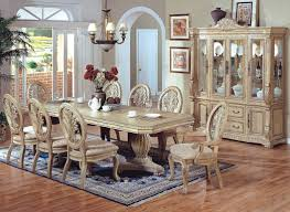 White Dining Room Set 7 Pc Hampton Ii Antique White Wash Finish Wood Double Pedestal
