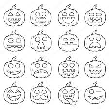 Halloween Pumpkin Icon Set Icon Emoji Pumpkin Black Line For Halloween U2014 Stock Vector