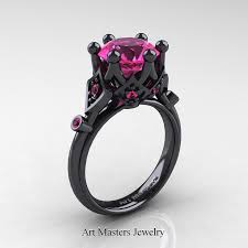 black and pink wedding rings modern antique 14k black gold 3 0 carat pink sapphire solitaire