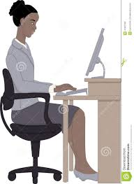 Computer Desk Posture Working On Computer Stock Vector Illustration Of