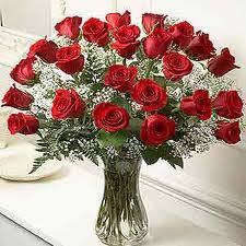2 dozen roses 2 dozen roses with baby s breath in vase in vancouver bc