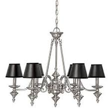 matte nickel six light black shade chandelier