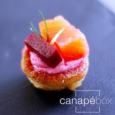 bellini canape smoked salmon beetroot horserasdish dill blini canapes