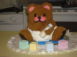 3d teddy bear baby shower cake cakecentral com