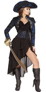 Womens Pirate Halloween Costumes Black Punk Pirate Captain Costume Women Party Cosplay