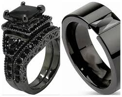 black wedding band sets sz 5 15 black wedding engagement ring band set princess cut