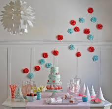 blue red strawberry birthday party tissue paper pom poms the