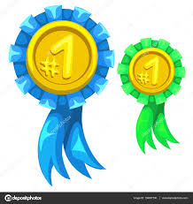 blue and gold ribbon gold medal with blue and green ribbon number one stock vector