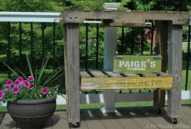 Patio Furniture Made Of Pallets by How To Make A Workbench Out Of Pallets Little House Of Four