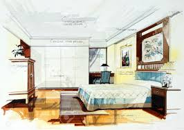interior sketch bedroom by pencil and watercolor stock photo