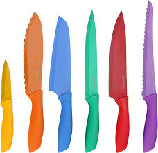 amazon com utopia kitchen 7 piece color coded non stick knife set