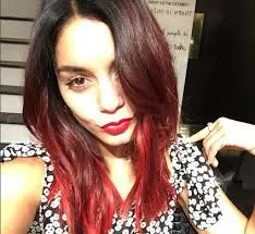 hudgens debuts new bold red ombre hair color
