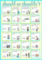 english worksheet modal verbs can can t must mustn t should