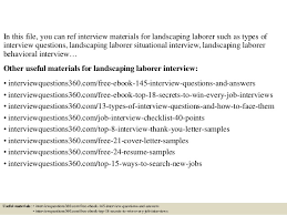 Landscaping Resume Samples by Top 10 Landscaping Laborer Interview Questions And Answers