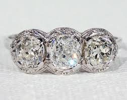 3 stone diamond ring etsy