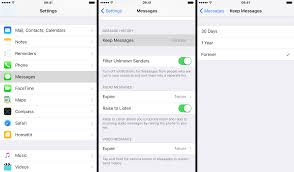 how to set text messages to be kept for 30 days or 1 year not