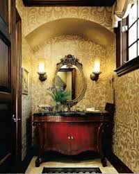 country french style interior powder room with wallpaper and wall