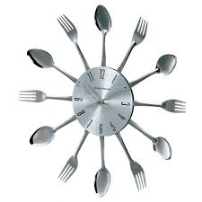 Kitchen Utensils Design by Innovative Utensil Wall Clock 80 Stainless Steel Retro Style