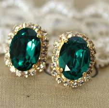 big stud earrings list for jillian green emerald color big oval stud earring