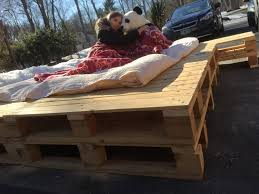 Pallet Platform Bed Queen Pallet Stacked Side Table Platform Bed