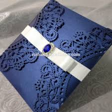 Invitation Cards Design With Ribbons Navy Blue U0026ivory With Silk Ribbon And Diamond Laser Cut Wedding