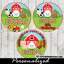 barn cake topper farm animals cupcake toppers tractor barn personalized tags