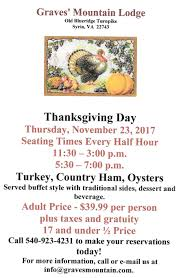 thanksgiving at gml mountain lodge